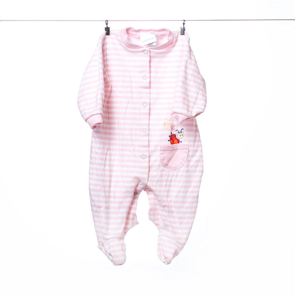 Carter's Footed Onesie Pink and White Striped with Ladybug 3-6 Months