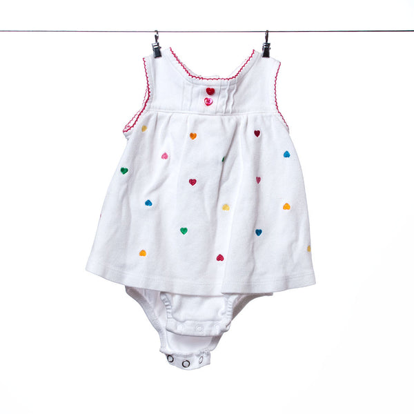 Carter's Girls White Onesie with Embroidered Hearts, Size 6 months