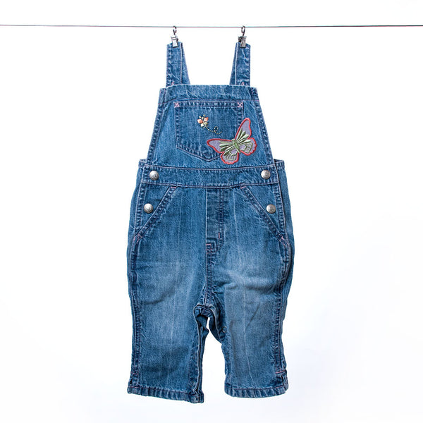Baby Gap Girls Blue Denim Overalls with Butterfly, Size M or 6-12 months