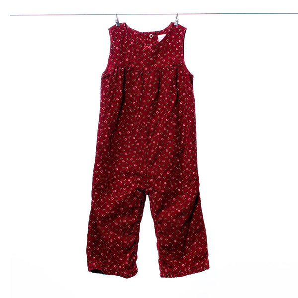 Gymboree Girls Maroon Flower Pattern Jumper, Size 18-24 Months