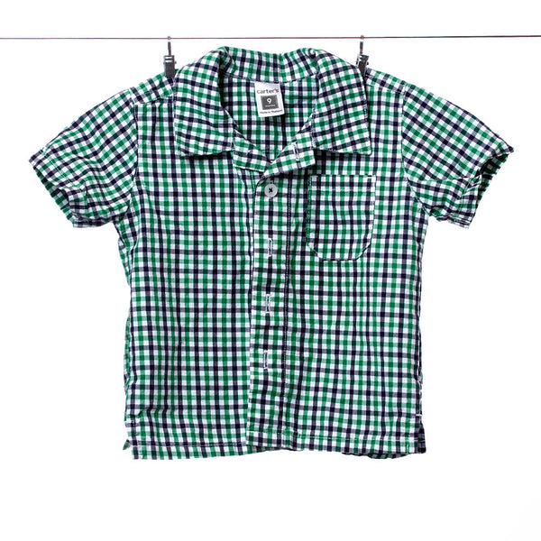 Carter's Boys Green and Navy Plaid/Checkered Short Sleeve Button Up, Size 9 Months