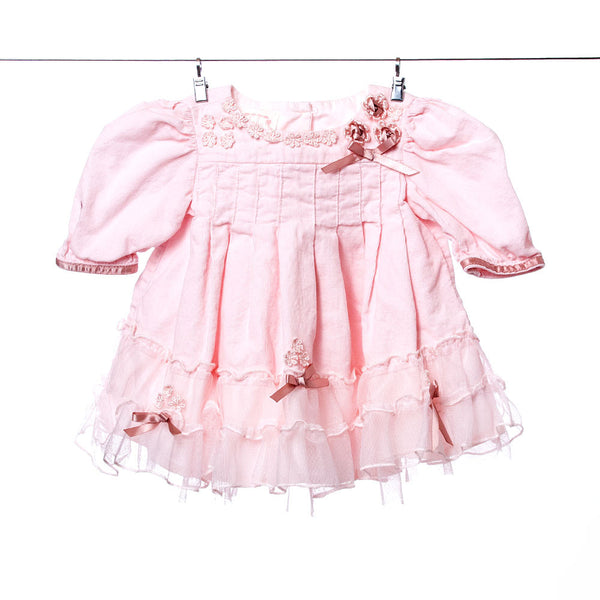 Baby Biscotti Girls Pink Flower and Lace Dress, Size 3 Months