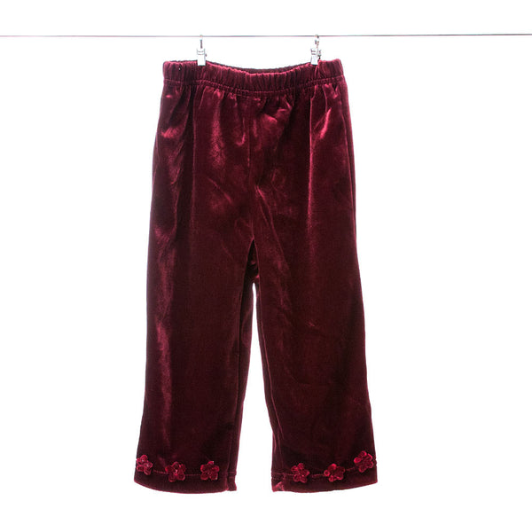Girls Maroon Dressy Pants with Rose Accents, Size 18 months