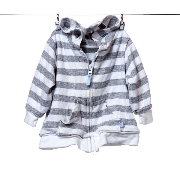 Carter's White and Gray Striped Zip Hoodie with Pockets, Size 3 Months