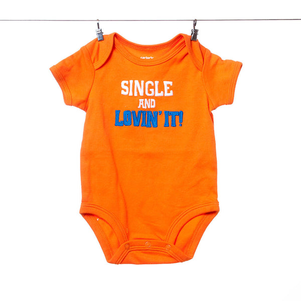 "Carter's Orange ""Single and Lovin' It"" Onesie, Size 3 Months"