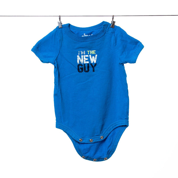 "Circo Boys Teal Blue ""I'm the New Guy"" Onesie, Size NB"