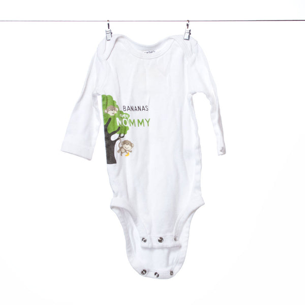 "Carter's White ""Bananas Over Mommy"" Onesie, Size 3 Months"