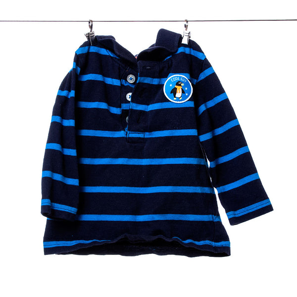 Carter's Boys Navy Blue Striped Long-Sleeve Polo Shirt, Size 9 Months