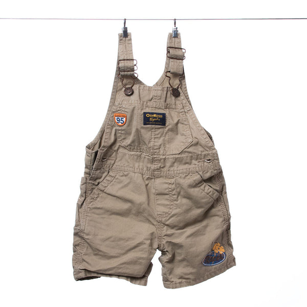 OshKosh B'gosh Brown Race-Themed Overalls, Size 12 months