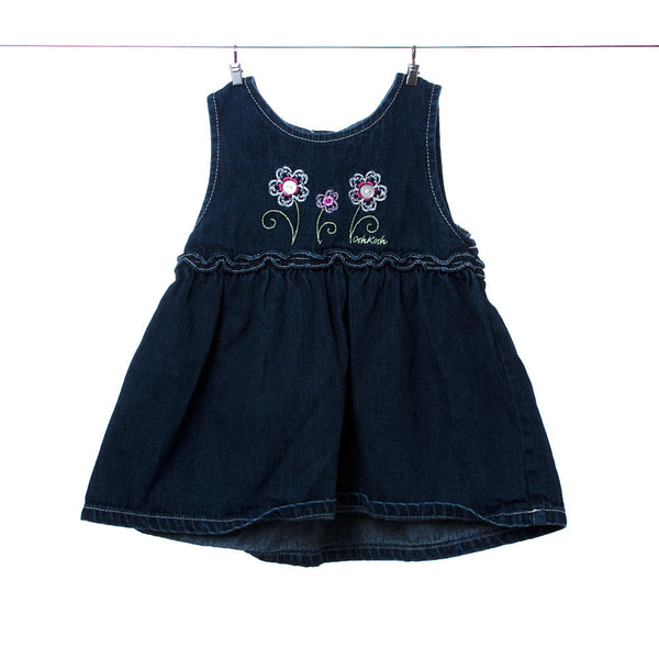 OshKosh Girls Blue Dress with Flower Accents, Size 12 months
