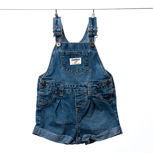 OshKosh B'gosh Girls Denim Blue Overalls, Size 24 months