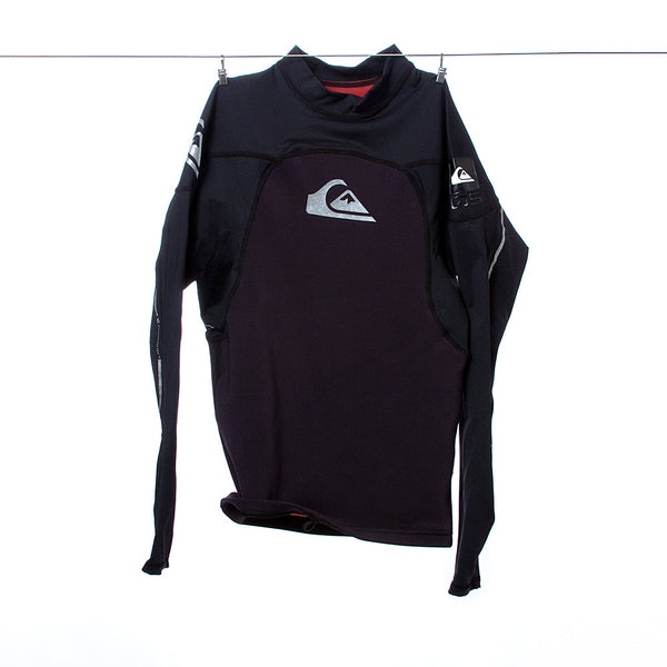 Quiksilver Boys Black and Silver Long-Sleeved Swim/Wet Shirt, Size S / 48