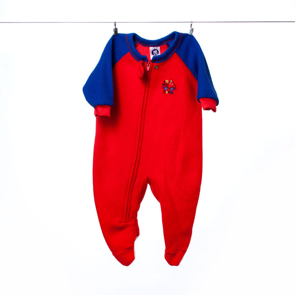 Gerber Red Footed Fire Truck Onesie, Size 6 Months