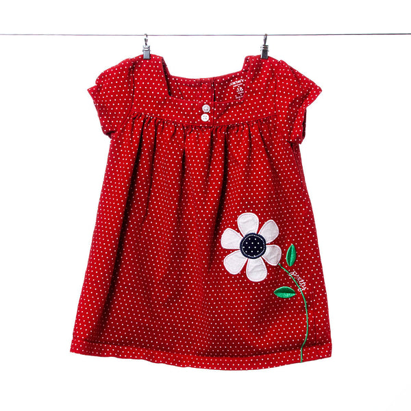 Carter's Red Polka Dot Dress with Flower, Size 18 Months