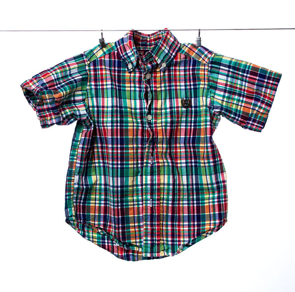 Chaps by Ralph Lauren Boys Plaid Short Sleeve Button-Down Shirt, Size 2/2T.