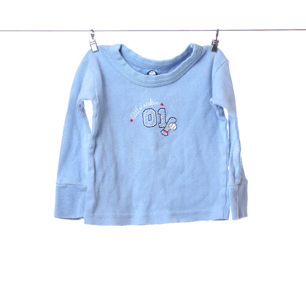 "Gerber ""Little Rookie"" Baby Blue Long Sleeve Pajama Shirt, Size 12 Months"