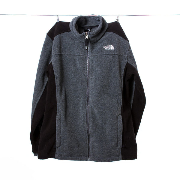 North Face Boys Gray and Black Fleece Jacket, Size XL (18/20)