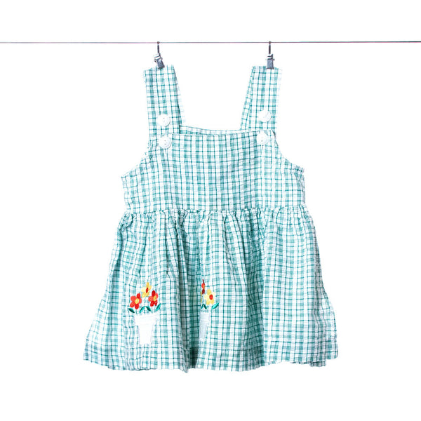 Small Steps Girls Green and White Flowered Dress, Size 12 Months
