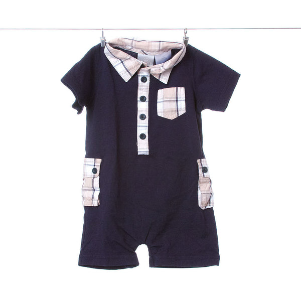 FAO Schwarz Boys Navy Collared One-Piece Romper with Plaid Accents, Size 6-9 Months