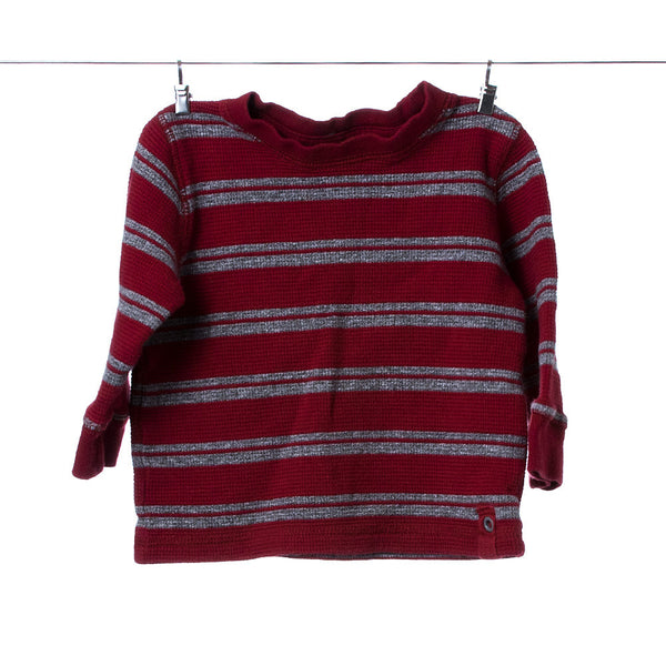 Gymboree Red and Grey Striped Boys Long Sleeve, Size 12-18 Months