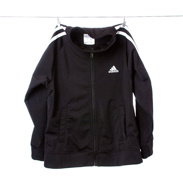 Adidas Boys Black Warm-Up Jacket with White Accents, Size 5