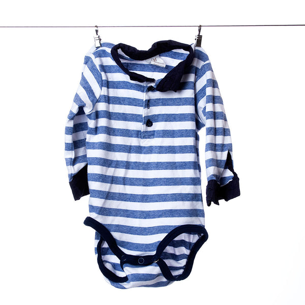 H & M Striped Collared Long Sleeve Onesie, Size 4-6 Months