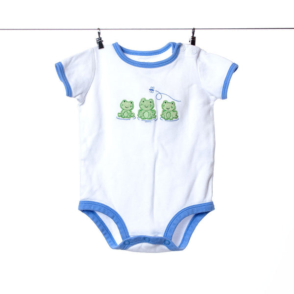 Carter's White with Blue Trim Frogs Onesie, Size 3 Months