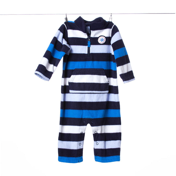 "Carter's ""The Coolest Kid Around"" Striped Blue and White Onesie, Size 9 Months"
