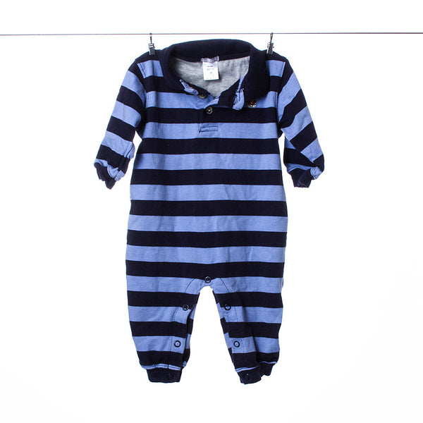 Carter's Navy and Light Blue Striped Long Sleeve/Leg Collared One Piece, Size 9 Months