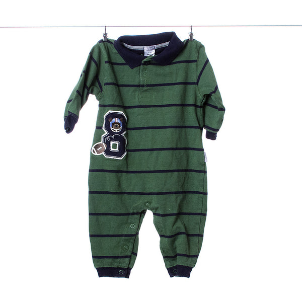 Carter's Green and Blue Striped Long Sleeve Long Leg Collared One Piece, Size 9 Months