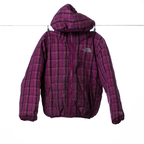 North Face Girl's Reversible Down Hooded Magenta Winter Coat, Size 5 (XXS)