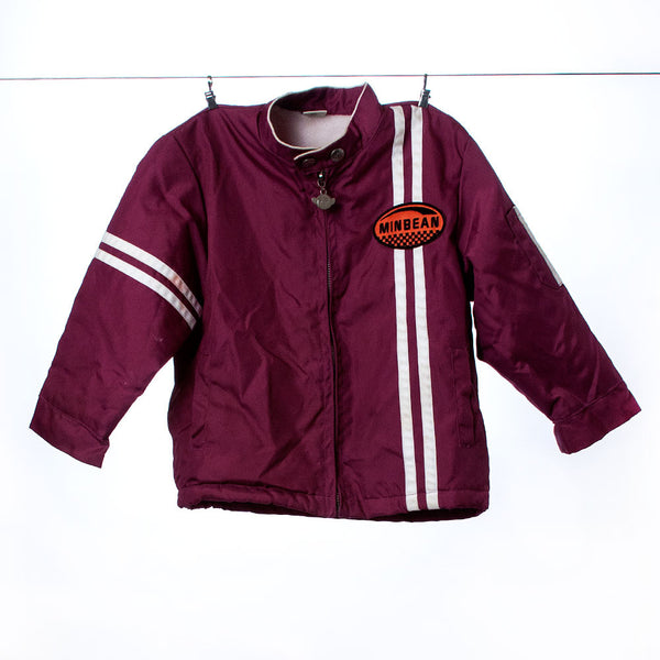 "Appaman Boys Maroon Racing-Style Jacket with ""Minbean"" Patch and White Stripes, Size 4T"