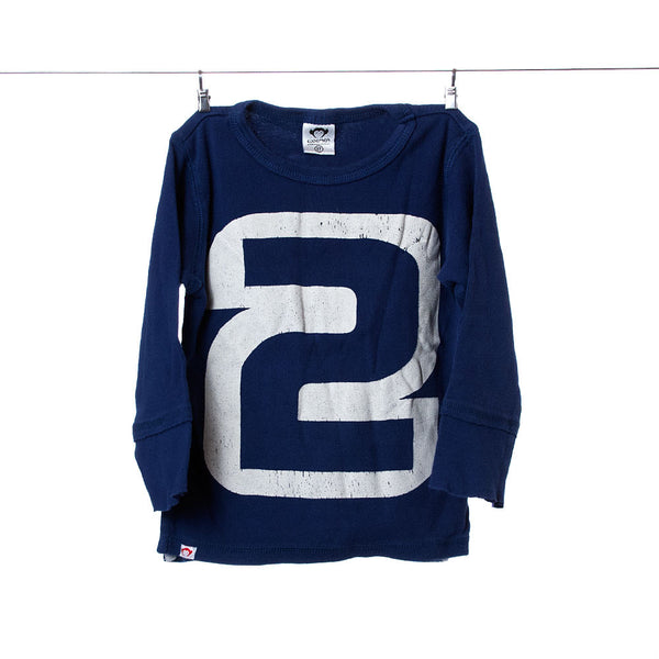 "Appaman Boys Blue Long-Sleeve Tee with giant ""2"" on the chest, Size 2T"