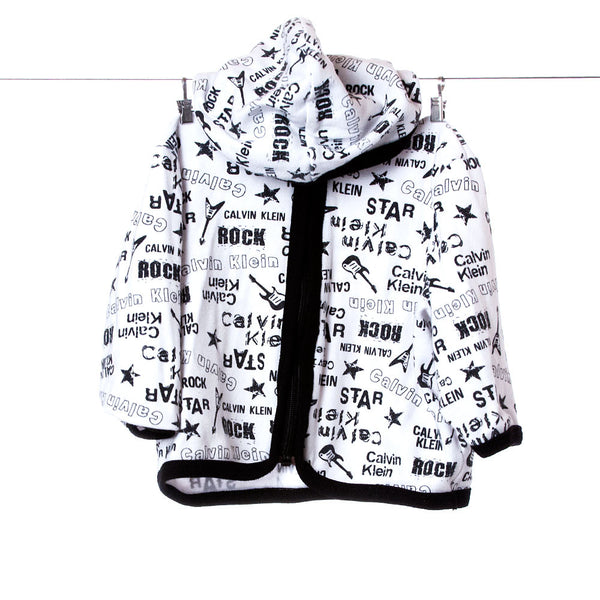Calvin Klein Boys Rock Star White Hoodie with Black Accents, Size 6-9 Months