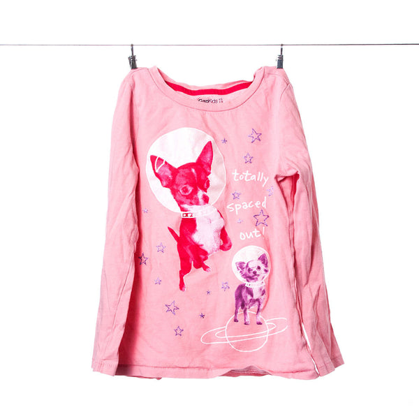 "GapKids Girls Pink ""Totally Spaced Out"" Dog Long-Sleeve Tee, Size S (4-5)"
