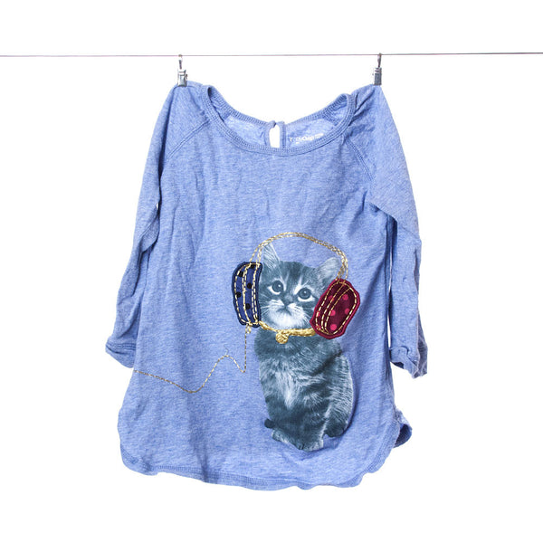BabyGap Girls Light Blue Long-Sleeve Tee Featuring Cat with Headphones, Size 5T