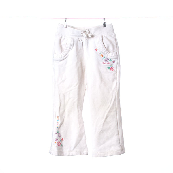 OshKosh B'Gosh Girls Cream-Colored Sweats with Pockets and Flowers, Size 2T