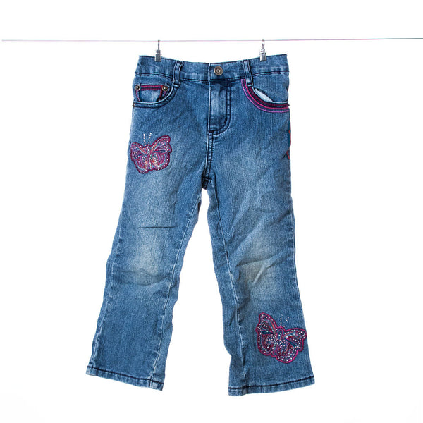 Zana Di Jeans Girls Jeans with Pink Butterfly Accents, Size 3T