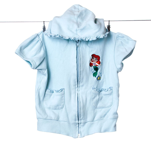 Walt Disney Princess Zipper Short Sleeved Hoody with Embroidered Little Mermaid Print, Size 3T