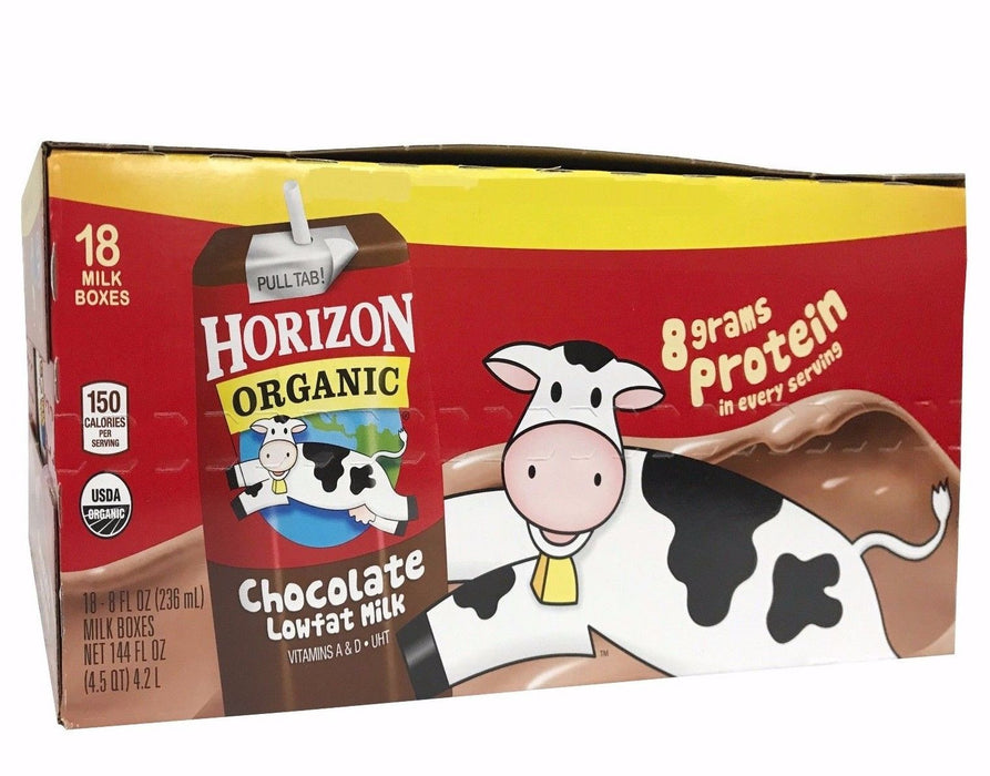 Horizon Organic Low Fat Milk 8g Protein per 8 FL OZ Serving 18 Boxes - Chocolate