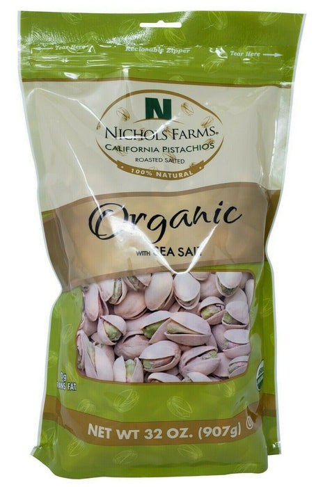 Nichols Farms Organic California Pistachios with Sea Salt Roasted 32 OZ