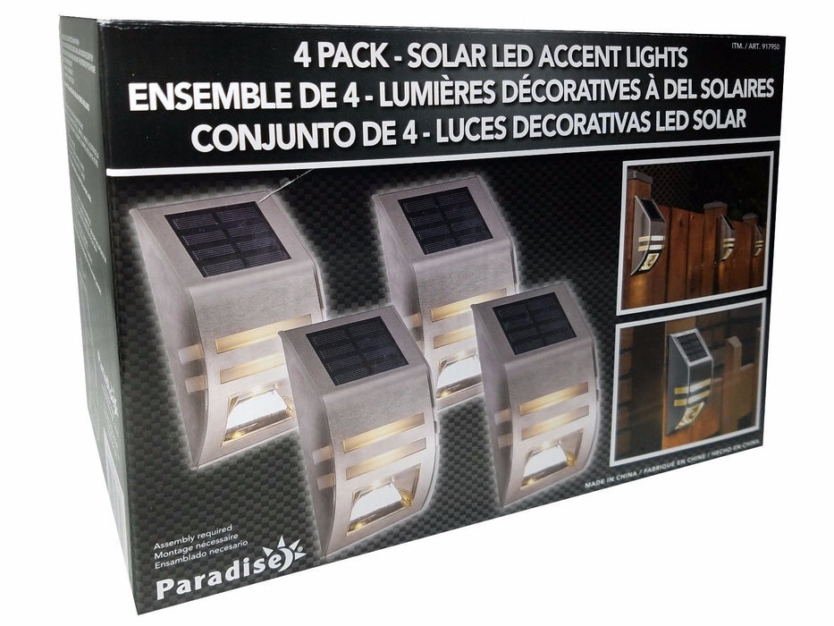 Paradise 4 Pack Solar Powered LED Accent Lights Stainless Steel