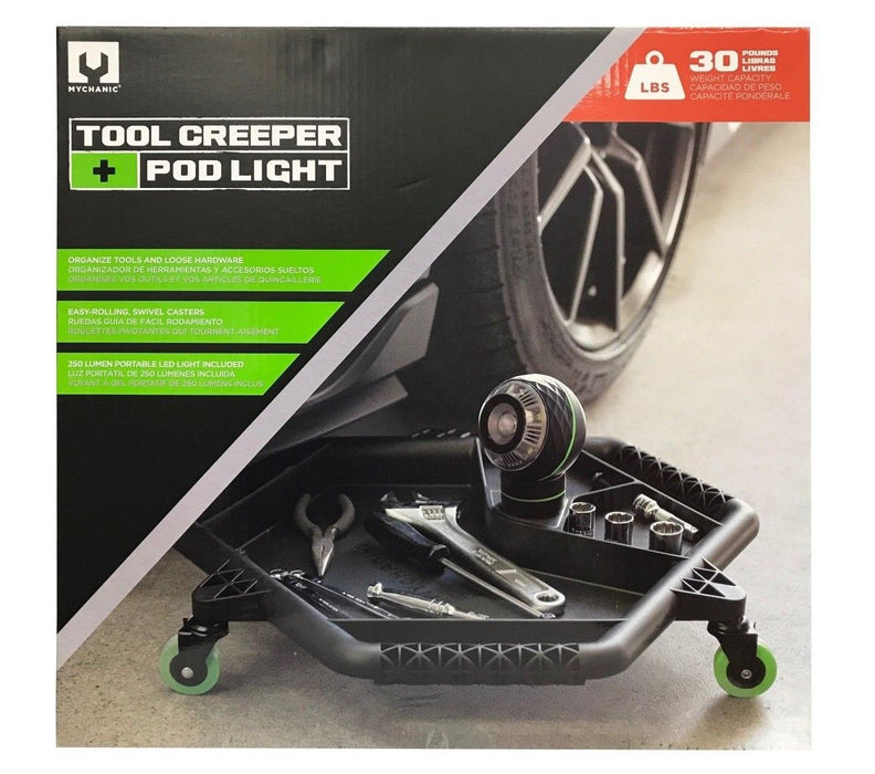 Mychanic Tool Creeper + Pod Light - 250 Lumens, 30LB Capacity, Easy Rolling