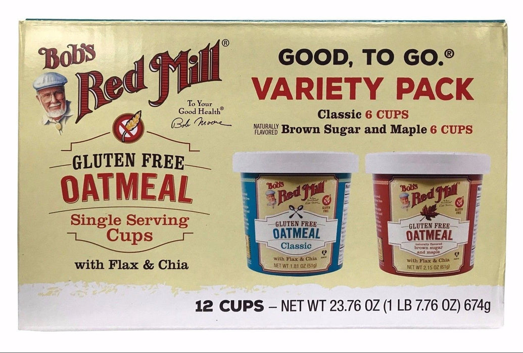 Bob's Red Mill Oatmeal Variety Pack 23.76 OZ Classic/Brown Sugar & Maple 12 Cups