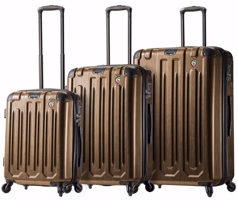 Mia Toro Lustro Hard-side Spinner Luggage Gold Italian Design 3PC Set