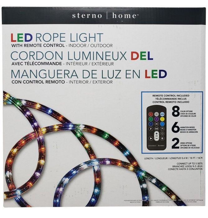 Sterno Home LED Rope Light with Remote Control - Indoor/Outdoor 18 Feet