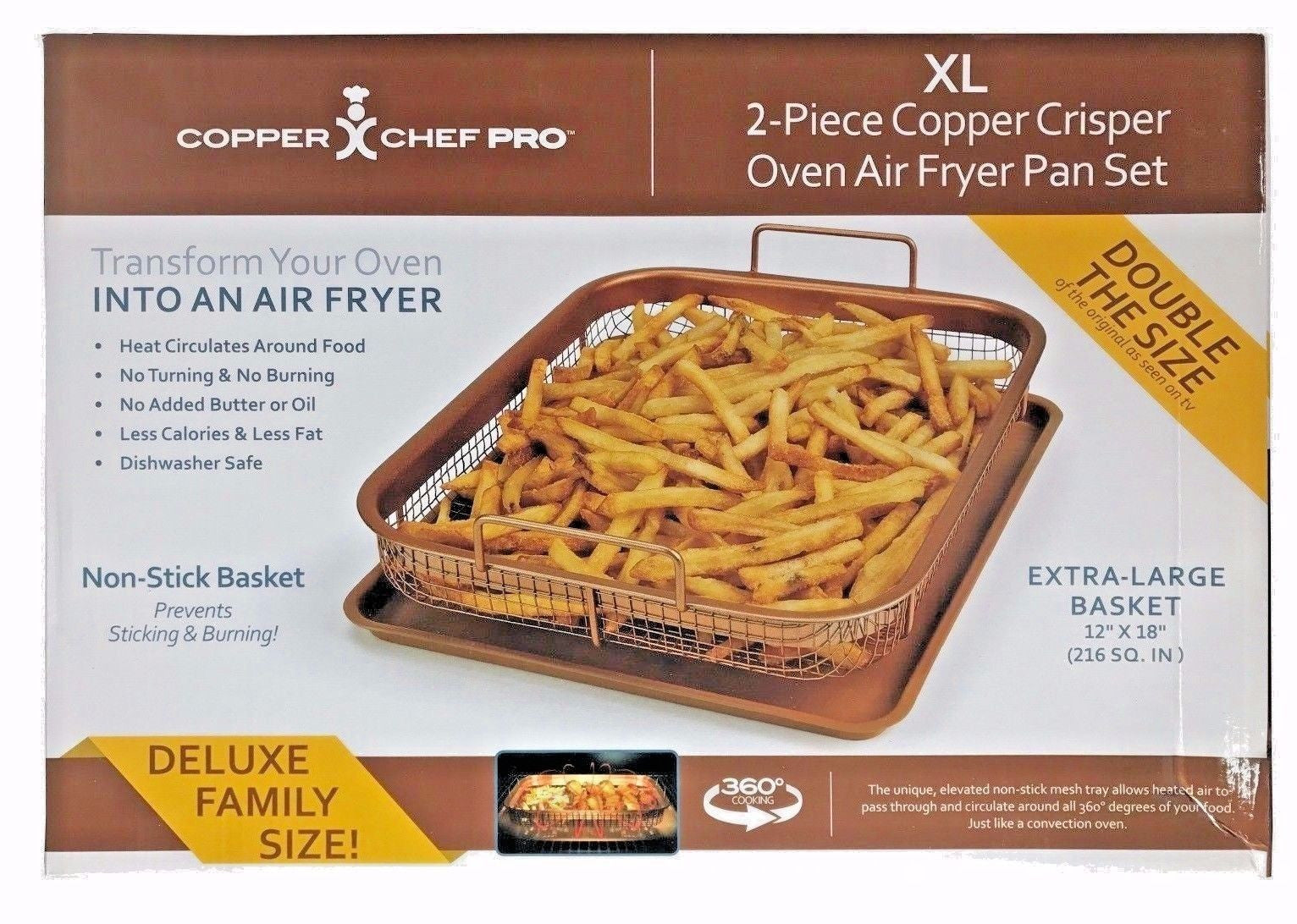 Copper Chef Pro Xl 2 Pc Copper Crisper Oven Air Fryer Pan