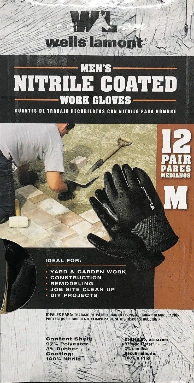 Wells Lamont Nitrile Coated Work Gloves 12 Pair Pack - Medium