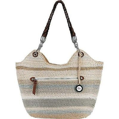 The Sak Indio Satchel Sand Stripe Crochet Large Tote Hand Bag Brand New