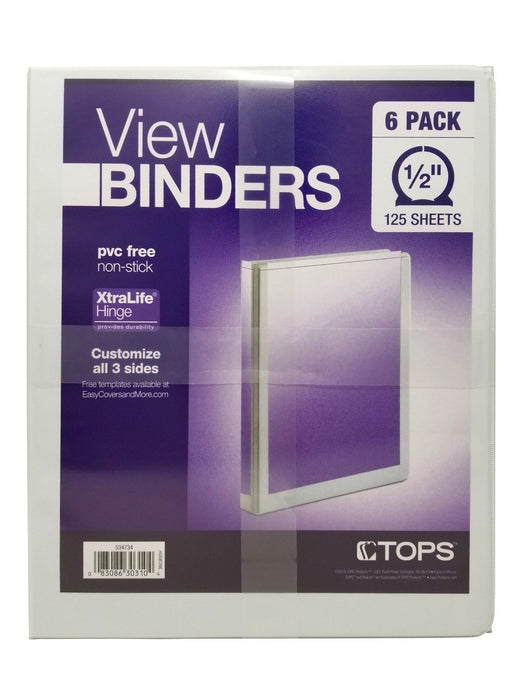 "Tops View Binders 1/2"" 125 Sheets Pvc Free Non-Stick 6 Pack"